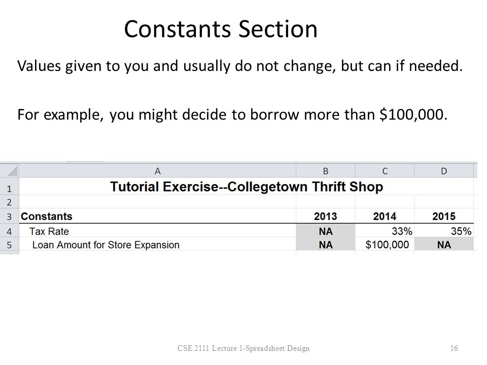 Constants Section Values given to you and usually do not change, but can if needed. For example, you might decide to borrow more than $100,000. 16CSE