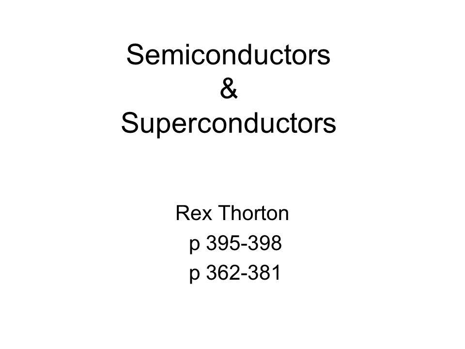 Semiconductors & Superconductors Rex Thorton p 395-398 p 362-381