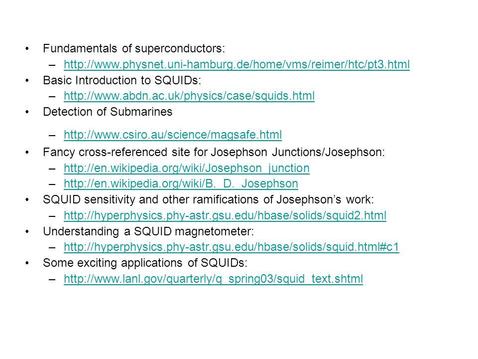 Fundamentals of superconductors: –http://www.physnet.uni-hamburg.de/home/vms/reimer/htc/pt3.htmlhttp://www.physnet.uni-hamburg.de/home/vms/reimer/htc/