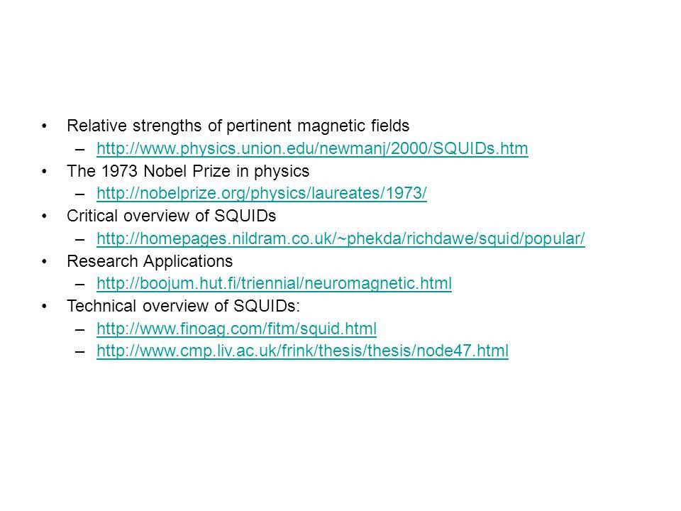 Relative strengths of pertinent magnetic fields –http://www.physics.union.edu/newmanj/2000/SQUIDs.htmhttp://www.physics.union.edu/newmanj/2000/SQUIDs.