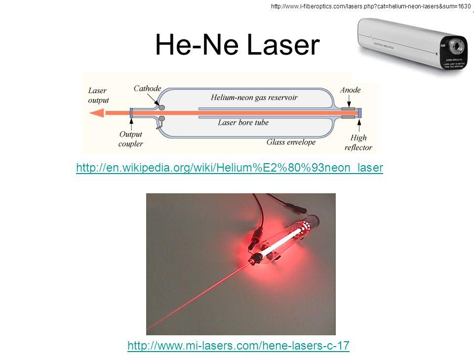 He-Ne Laser http://en.wikipedia.org/wiki/Helium%E2%80%93neon_laser http://www.mi-lasers.com/hene-lasers-c-17 http://www.i-fiberoptics.com/lasers.php?c