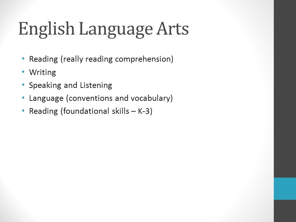 English Language Arts Reading (really reading comprehension) Writing Speaking and Listening Language (conventions and vocabulary) Reading (foundational skills – K-3)