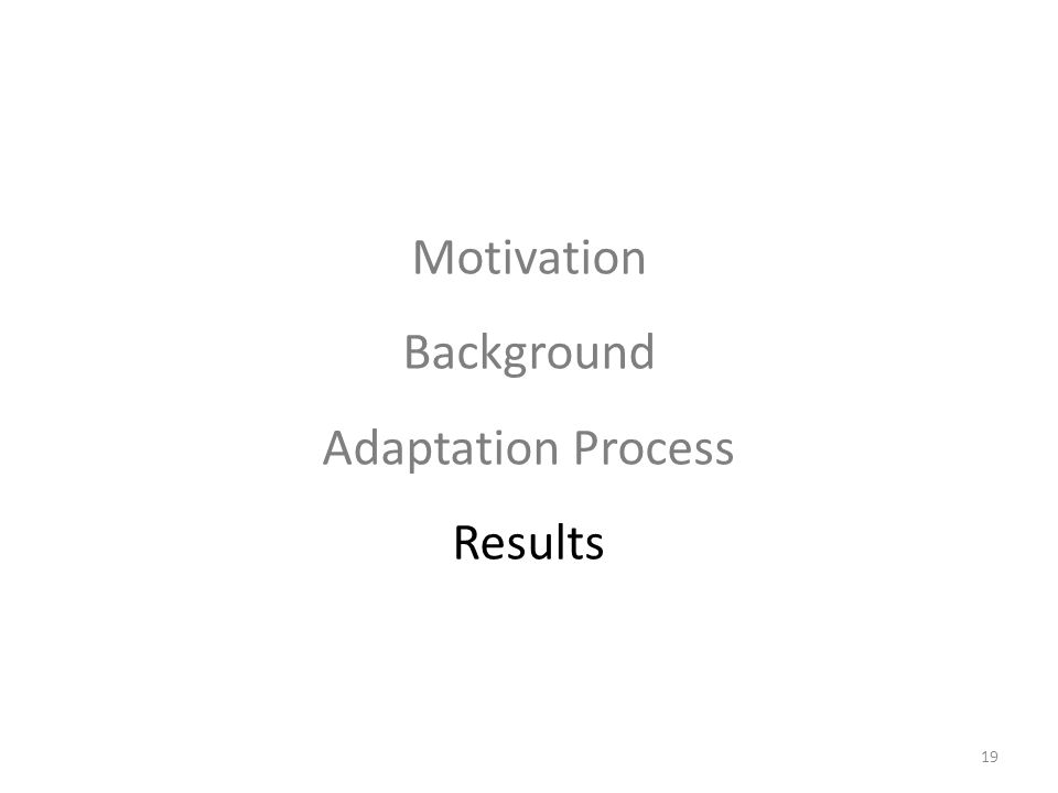 19 Motivation Background Adaptation Process Results