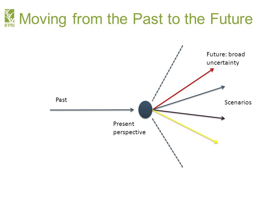 Moving from the Past to the Future Future: broad uncertainty Scenarios Past Present perspective