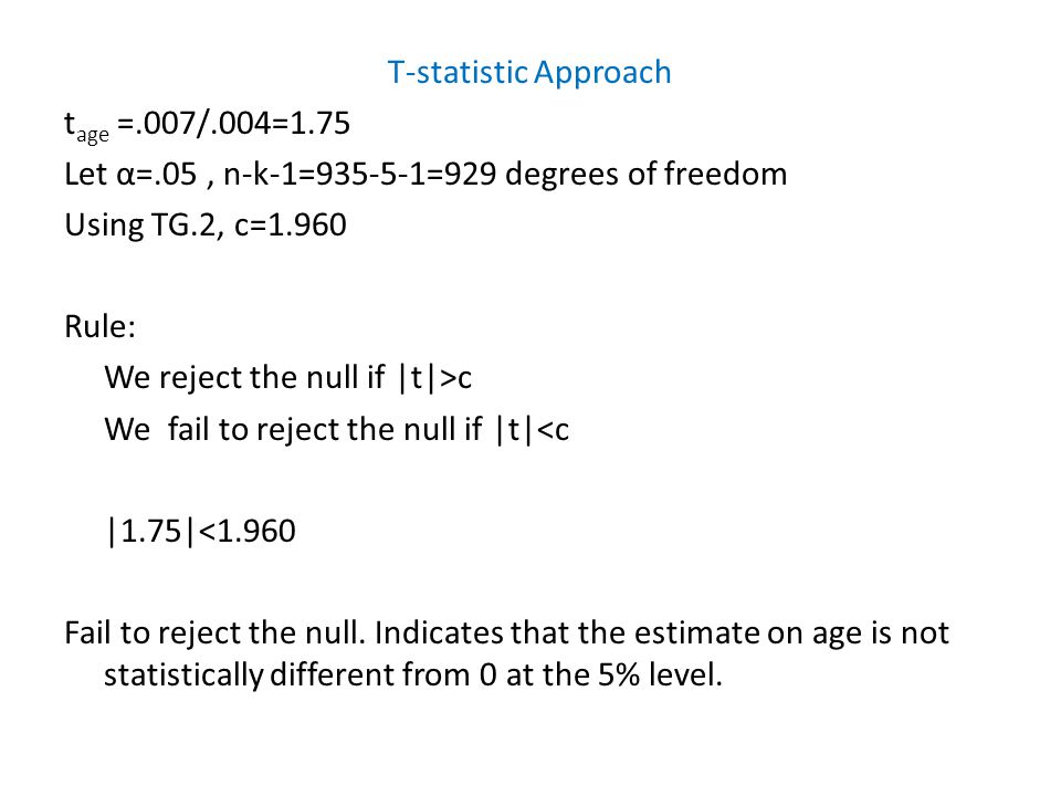 T-statistic Approach t age =.007/.004=1.75 Let α=.05, n-k-1=935-5-1=929 degrees of freedom Using TG.2, c=1.960 Rule: We reject the null if |t|>c We fa