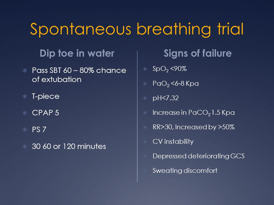 Spontaneous breathing trial Dip toe in water  Pass SBT 60 – 80% chance of extubation  T-piece  CPAP 5  PS 7  30 60 or 120 minutes Signs of failure  SpO 2 <90%  PaO 2 <6-8 Kpa  pH<7.32  Increase in PaCO 2 1.5 Kpa  RR>30, Increased by >50%  CV instability  Depressed deteriorating GCS  Sweating discomfort