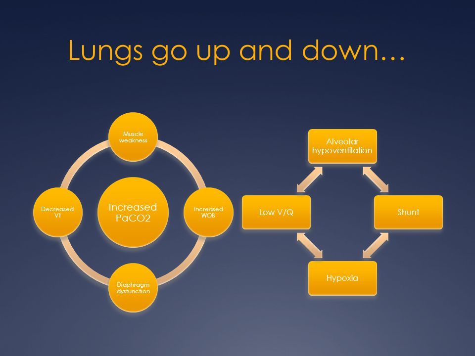 Lungs go up and down… Increased PaCO2 Muscle weakness Increased WOB Diaphragm dysfunction Decreased Vt Alveolar hypoventilation ShuntHypoxiaLow V/Q
