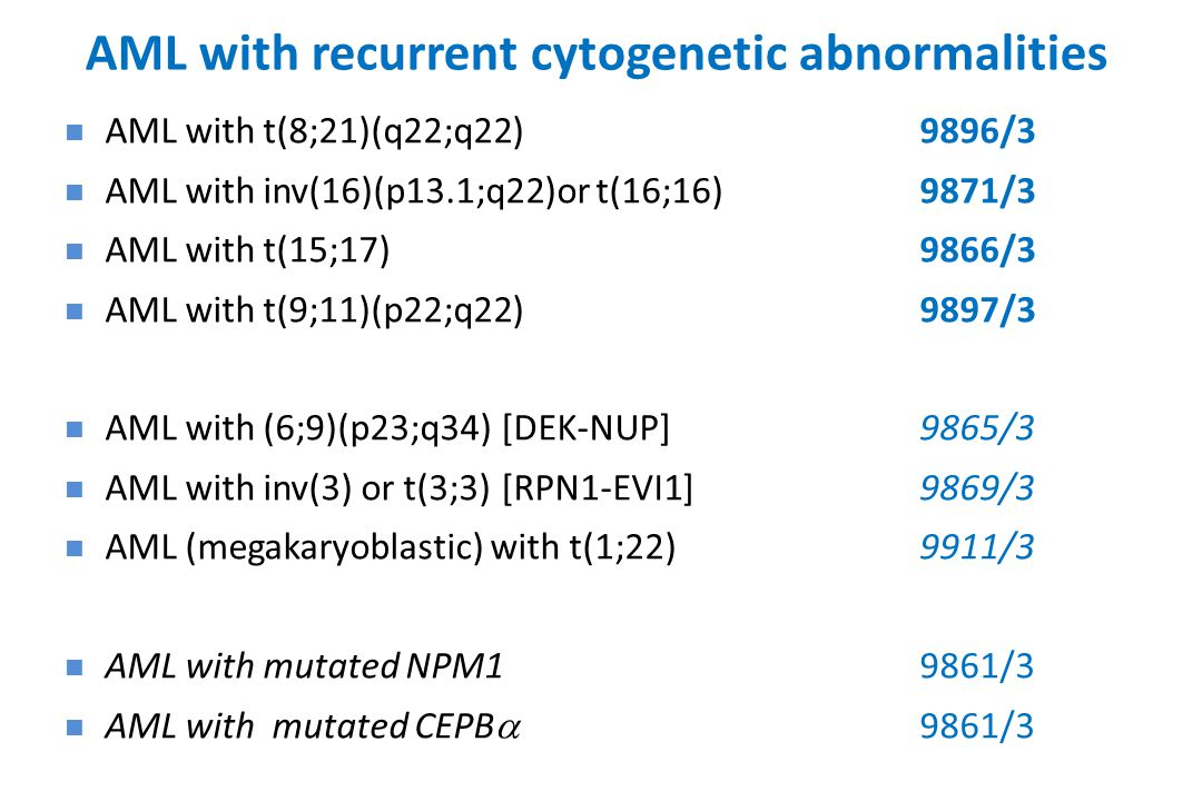 AML with recurrent cytogenetic abnormalities AML with t(8;21)(q22;q22)9896/3 AML with inv(16)(p13.1;q22)or t(16;16) 9871/3 AML with t(15;17)9866/3 AML with t(9;11)(p22;q22) 9897/3 AML with (6;9)(p23;q34) [DEK-NUP]9865/3 AML with inv(3) or t(3;3) [RPN1-EVI1]9869/3 AML (megakaryoblastic) with t(1;22)9911/3 AML with mutated NPM19861/3 AML with mutated CEPB  9861/3