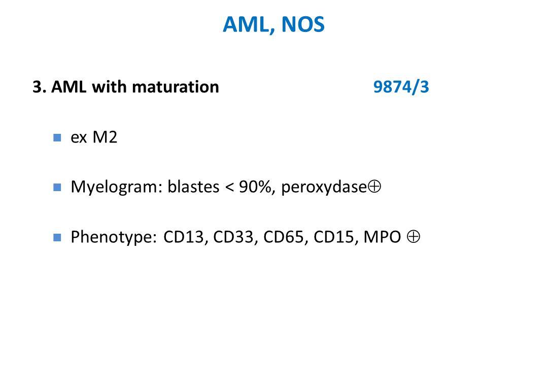 3. AML with maturation9874/3 ex M2 Myelogram: blastes < 90%, peroxydase  Phenotype: CD13, CD33, CD65, CD15, MPO 