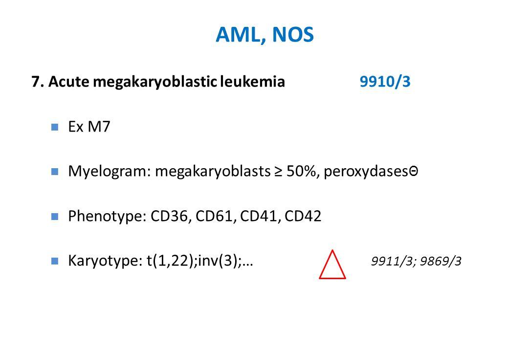 AML, NOS 7. Acute megakaryoblastic leukemia9910/3 Ex M7 Myelogram: megakaryoblasts ≥ 50%, peroxydases Θ Phenotype: CD36, CD61, CD41, CD42 Karyotype: t