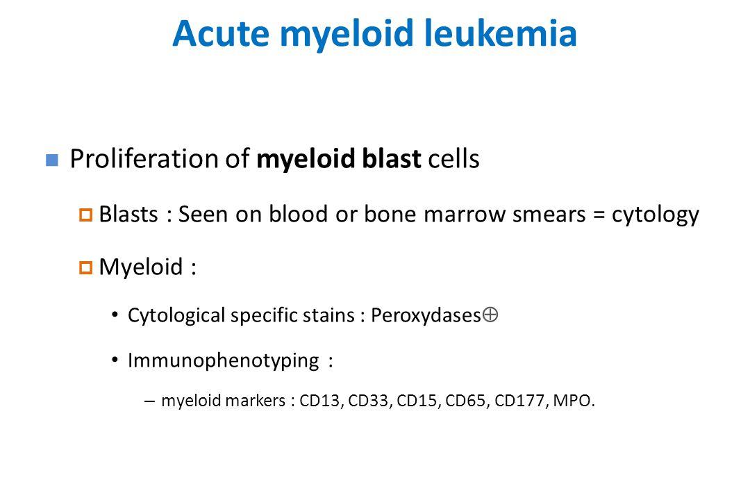 Acute myeloid leukemia Proliferation of myeloid blast cells  Blasts : Seen on blood or bone marrow smears = cytology  Myeloid : Cytological specific