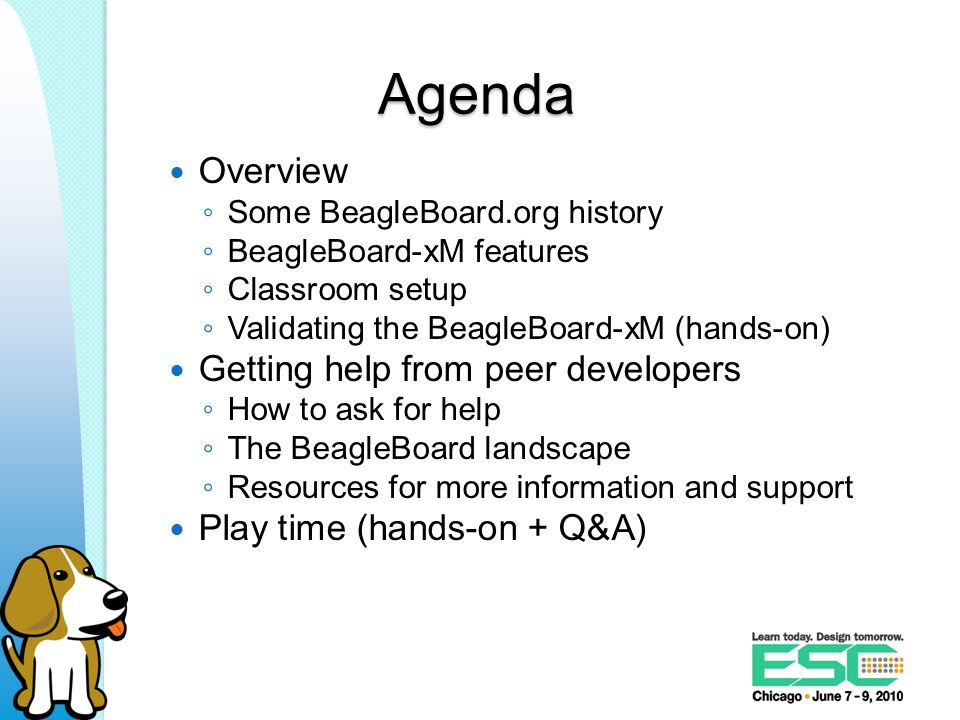 Order of resources 1.Search beagleboard.org, eLinux.org, the mailing list archive, and IRC logs 2.