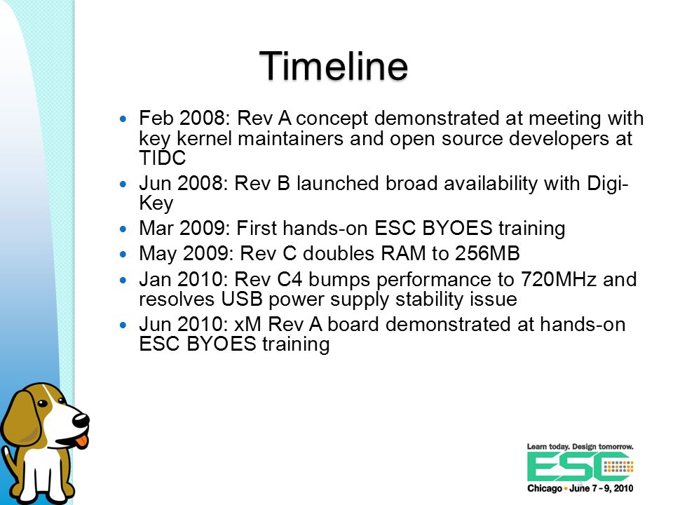 Timeline Feb 2008: Rev A concept demonstrated at meeting with key kernel maintainers and open source developers at TIDC Jun 2008: Rev B launched broad availability with Digi- Key Mar 2009: First hands-on ESC BYOES training May 2009: Rev C doubles RAM to 256MB Jan 2010: Rev C4 bumps performance to 720MHz and resolves USB power supply stability issue Jun 2010: xM Rev A board demonstrated at hands-on ESC BYOES training 4