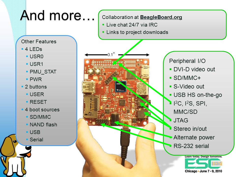 Android Uses (most) of the Linux kernel, but own versions of user-space applications Runs applications within a virtual machine At least half-a-dozen companies provide commercial support for Android on the BeagleBoard Rowboat is the one endorsed by TI 0xdroid (0x1ab) and Embinux are also interesting and free 39