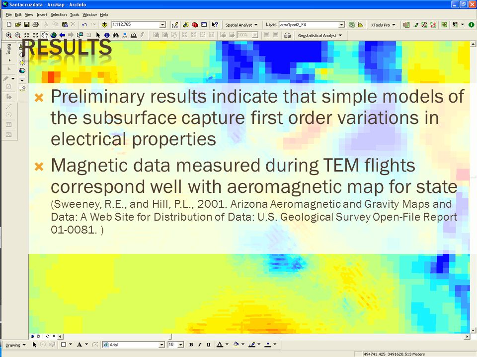  Preliminary results indicate that simple models of the subsurface capture first order variations in electrical properties  Magnetic data measured during TEM flights correspond well with aeromagnetic map for state (Sweeney, R.E., and Hill, P.L., 2001.