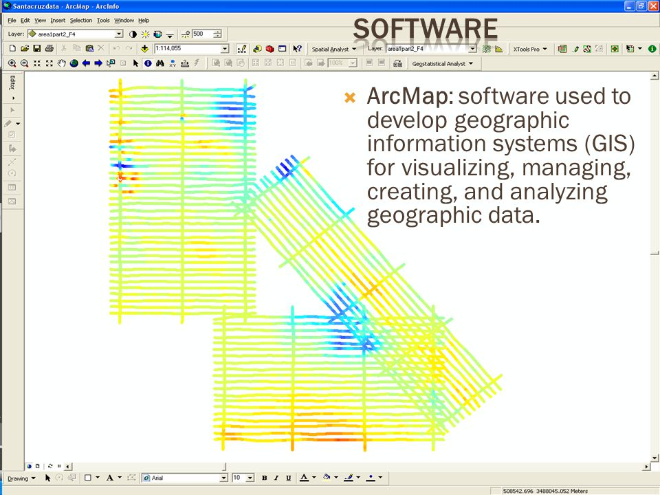  ArcMap: software used to develop geographic information systems (GIS) for visualizing, managing, creating, and analyzing geographic data.