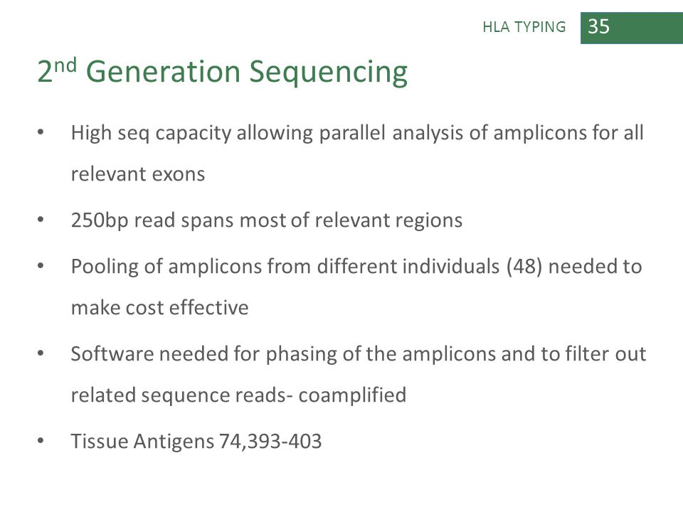35 HLA TYPING 2 nd Generation Sequencing High seq capacity allowing parallel analysis of amplicons for all relevant exons 250bp read spans most of rel
