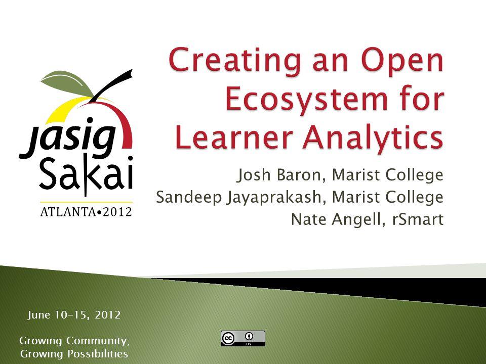 June 10-15, 2012 Growing Community; Growing Possibilities Josh Baron, Marist College Sandeep Jayaprakash, Marist College Nate Angell, rSmart