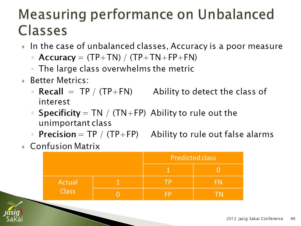  In the case of unbalanced classes, Accuracy is a poor measure ◦ Accuracy = (TP+TN) / (TP+TN+FP+FN) ◦ The large class overwhelms the metric  Better