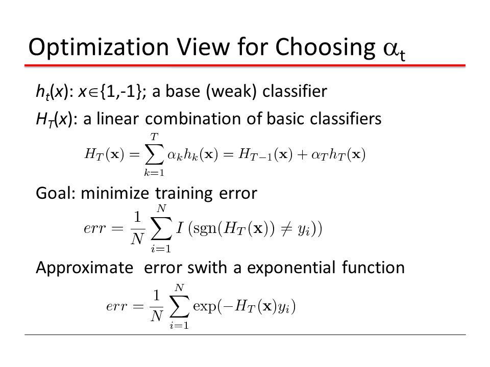 Optimization View for Choosing  t h t (x): x  {1,-1}; a base (weak) classifier H T (x): a linear combination of basic classifiers Goal: minimize tra