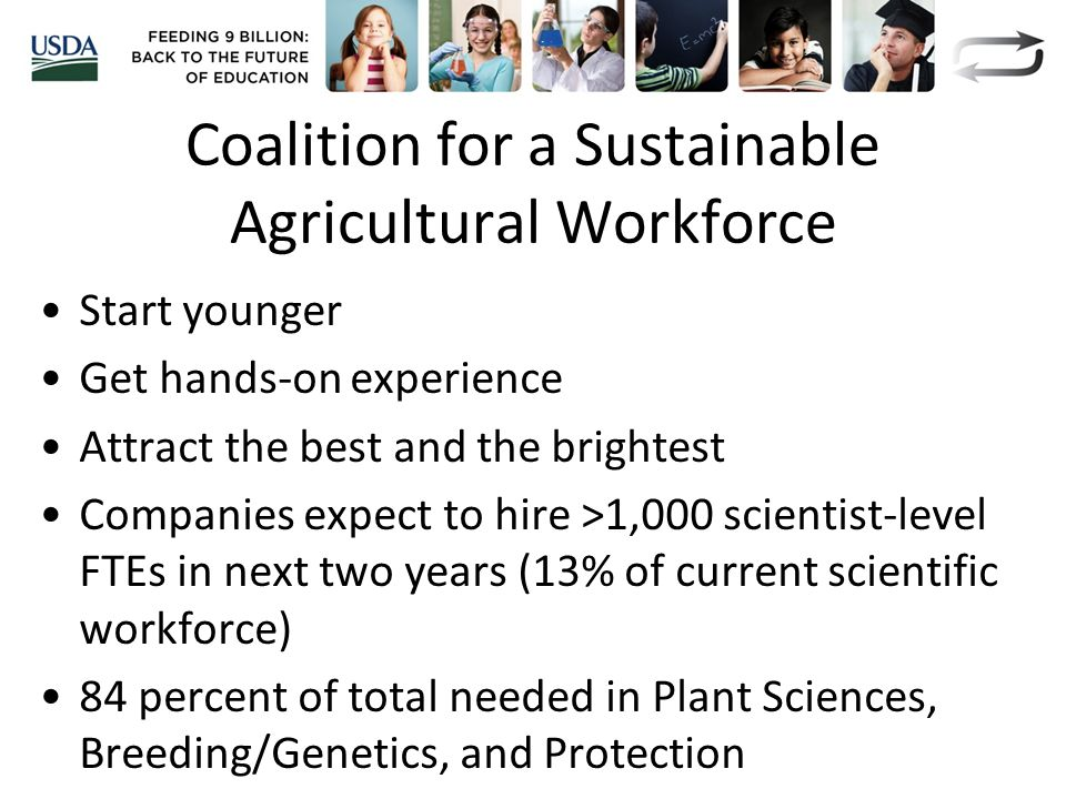 Coalition for a Sustainable Agricultural Workforce Start younger Get hands-on experience Attract the best and the brightest Companies expect to hire >1,000 scientist-level FTEs in next two years (13% of current scientific workforce) 84 percent of total needed in Plant Sciences, Breeding/Genetics, and Protection