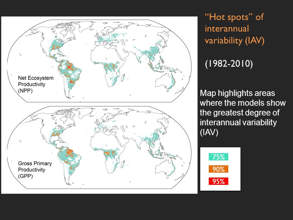 75% 90% 95% Hot spots of interannual variability (IAV) (1982-2010) Map highlights areas where the models show the greatest degree of interannual variability (IAV)