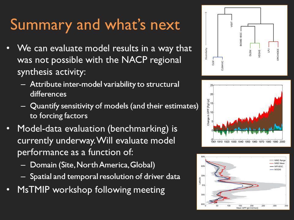 Summary and what's next We can evaluate model results in a way that was not possible with the NACP regional synthesis activity: – Attribute inter-model variability to structural differences – Quantify sensitivity of models (and their estimates) to forcing factors Model-data evaluation (benchmarking) is currently underway.
