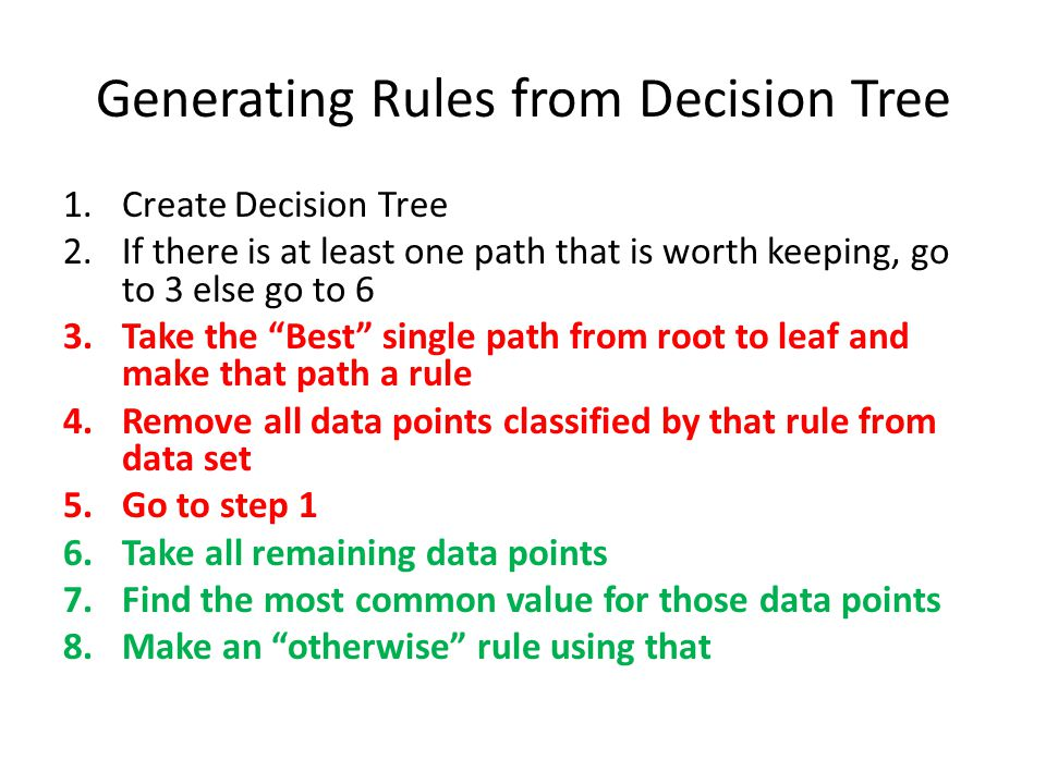 "Generating Rules from Decision Tree 1.Create Decision Tree 2.If there is at least one path that is worth keeping, go to 3 else go to 6 3.Take the ""Bes"