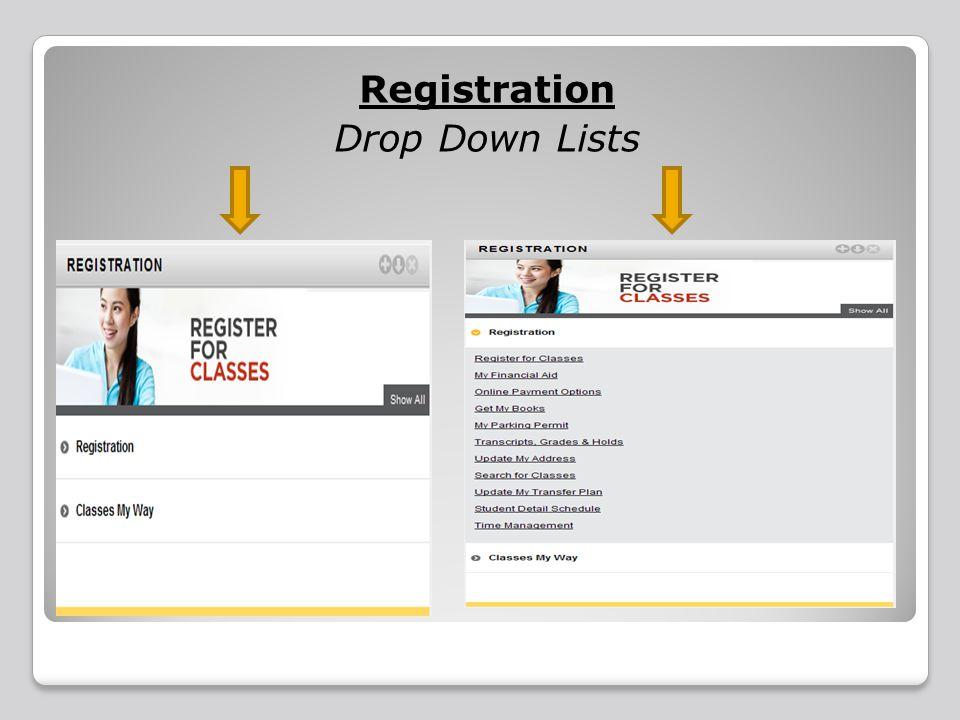 Registration Drop Down Lists