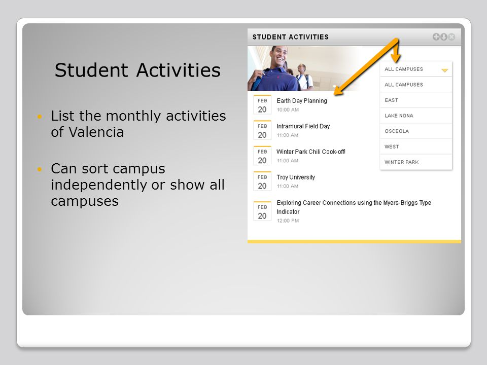 Student Activities List the monthly activities of Valencia Can sort campus independently or show all campuses