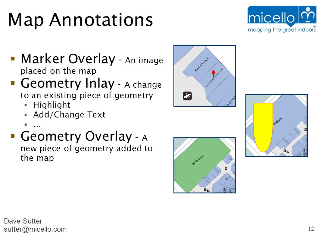 Map Annotations  Marker Overlay - An image placed on the map  Geometry Inlay - A change to an existing piece of geometry  Highlight  Add/Change Text ...
