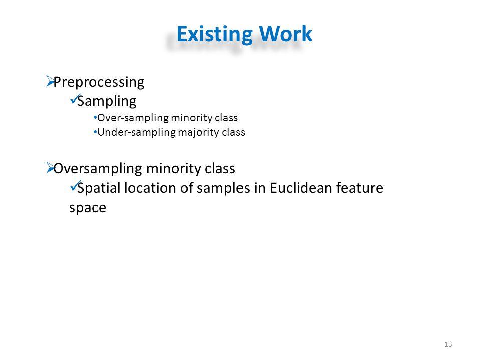 Existing Work 13  Preprocessing Sampling Over-sampling minority class Under-sampling majority class  Oversampling minority class Spatial location of