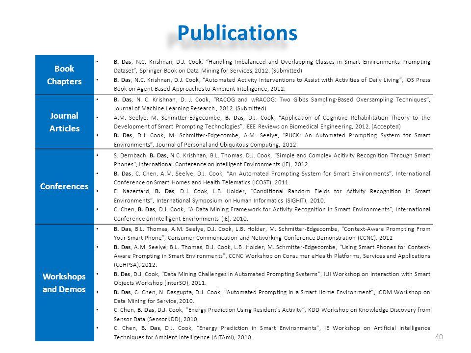 Publications 40 Book Chapters B.Das, N.C. Krishnan, D.J.
