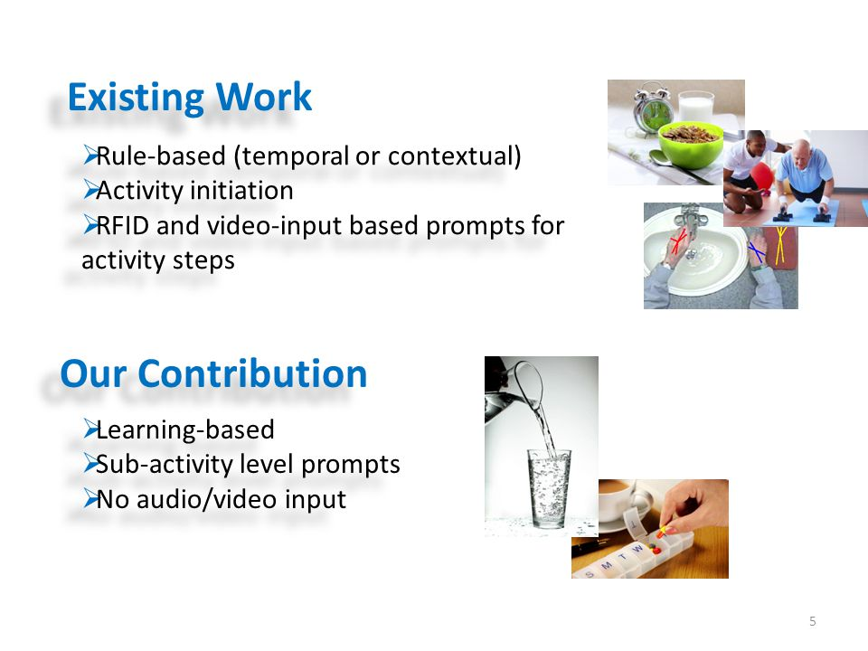 5  Rule-based (temporal or contextual)  Activity initiation  RFID and video-input based prompts for activity steps  Rule-based (temporal or contex