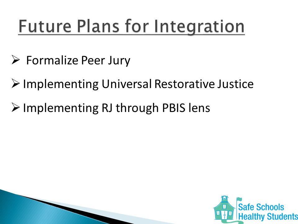  Formalize Peer Jury  Implementing Universal Restorative Justice  Implementing RJ through PBIS lens
