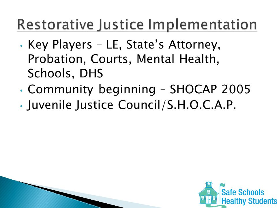 Key Players – LE, State's Attorney, Probation, Courts, Mental Health, Schools, DHS Community beginning – SHOCAP 2005 Juvenile Justice Council/S.H.O.C.A.P.