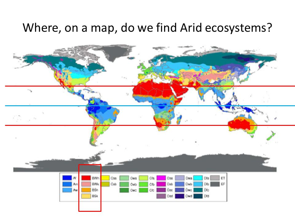 Where, on a map, do we find Arid ecosystems?