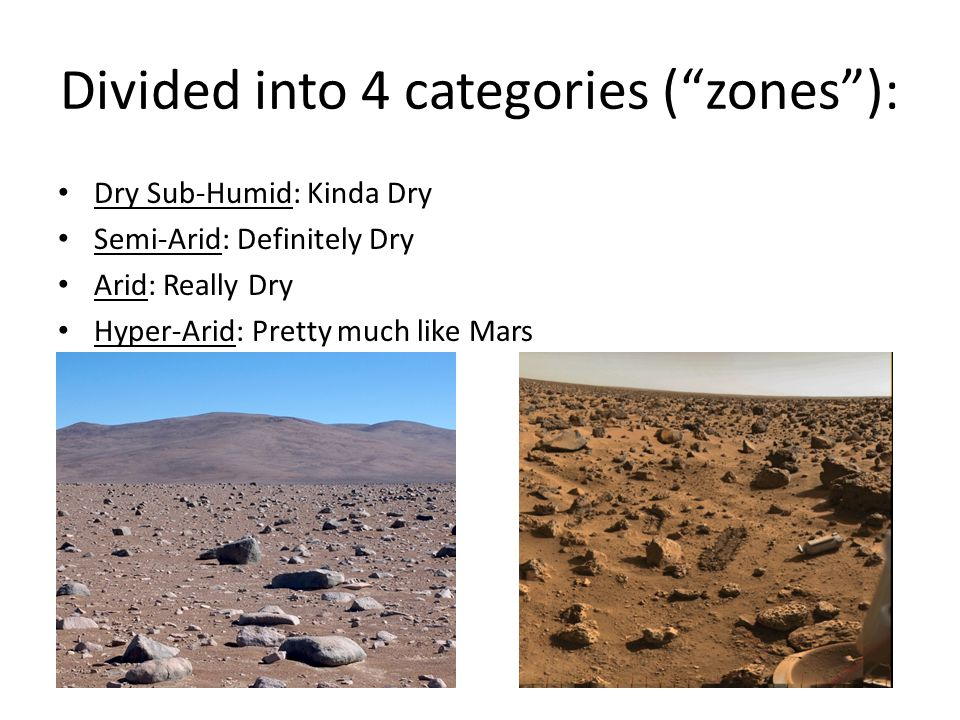 "Divided into 4 categories (""zones""): Dry Sub-Humid: Kinda Dry Semi-Arid: Definitely Dry Arid: Really Dry Hyper-Arid: Pretty much like Mars"
