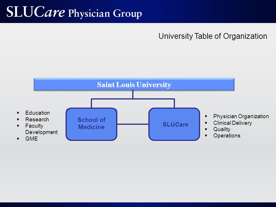 University Table of Organization Saint Louis University School of Medicine SLUCare  Education  Research  Faculty Development  GME  Physician Organization  Clinical Delivery  Quality  Operations