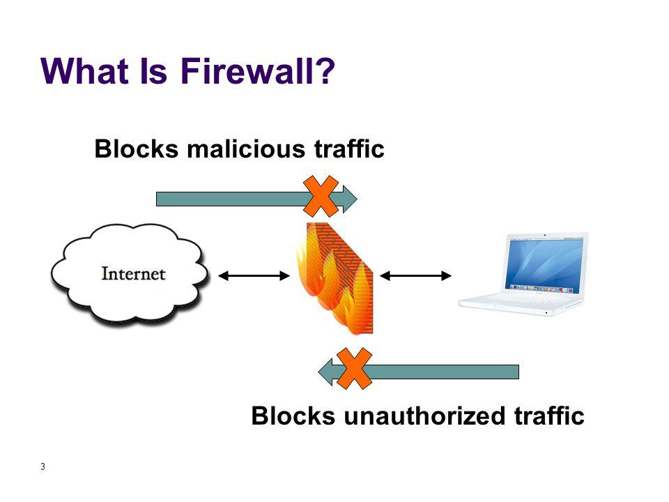 What Is Firewall 3 Blocks malicious traffic Blocks unauthorized traffic