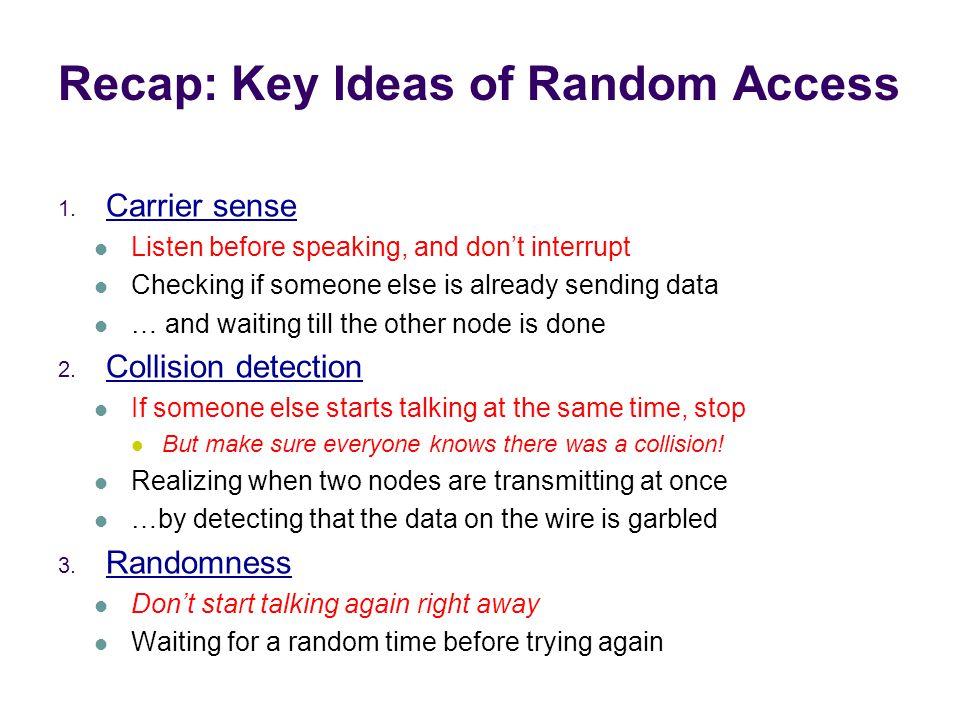 Recap: Key Ideas of Random Access 1.