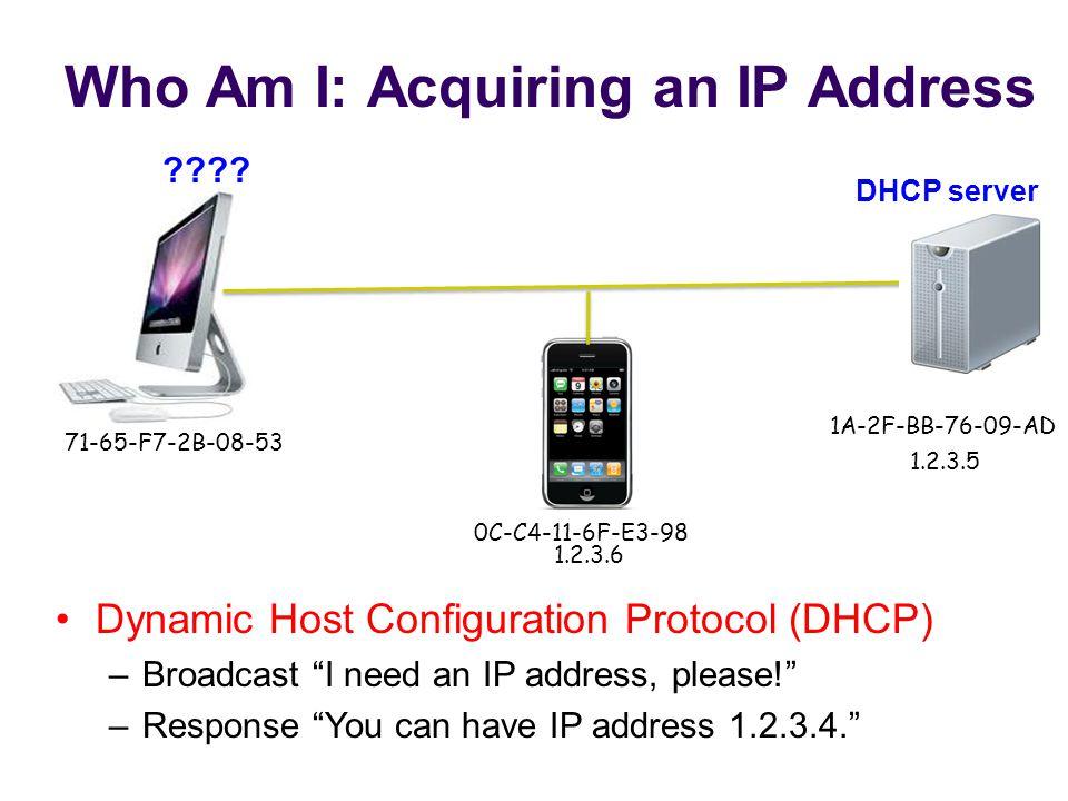 Who Am I: Acquiring an IP Address 71-65-F7-2B-08-53 1A-2F-BB-76-09-AD 0C-C4-11-6F-E3-98 .