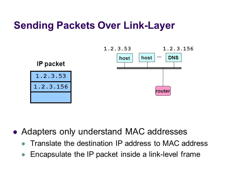 Sending Packets Over Link-Layer Adapters only understand MAC addresses Translate the destination IP address to MAC address Encapsulate the IP packet inside a link-level frame host DNS...