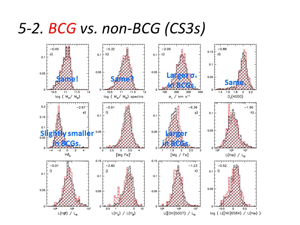 5-2. BCG vs. non-BCG (CS3s) Same!Same. Larger σ * In BCGs.