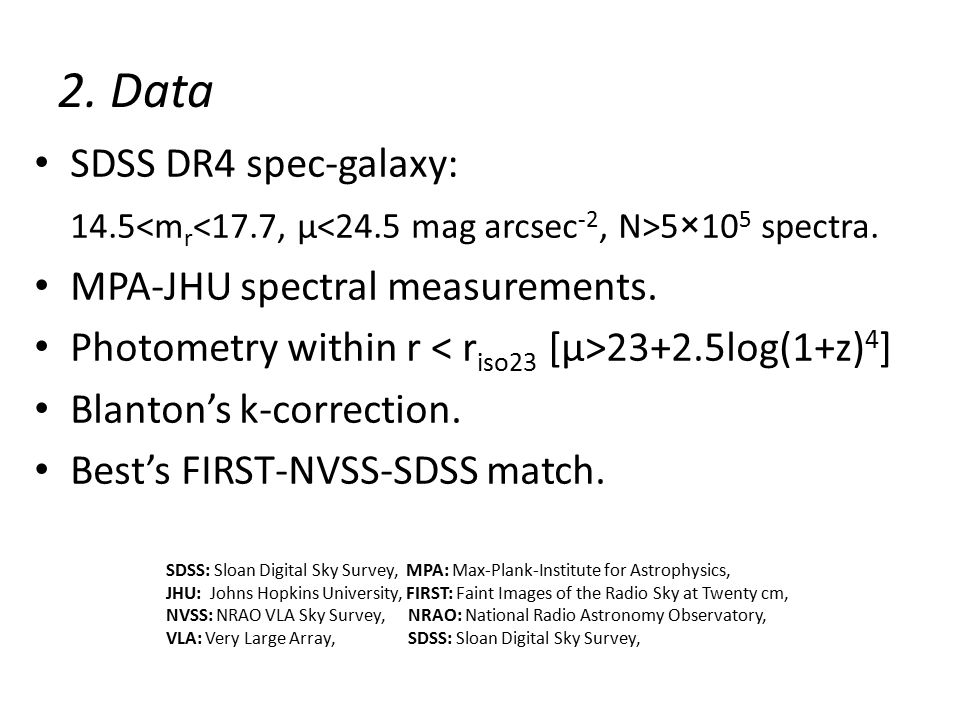 2. Data SDSS DR4 spec-galaxy: 14.5 5×10 5 spectra.