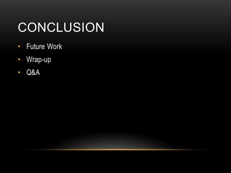 CONCLUSION Future Work Wrap-up Q&A