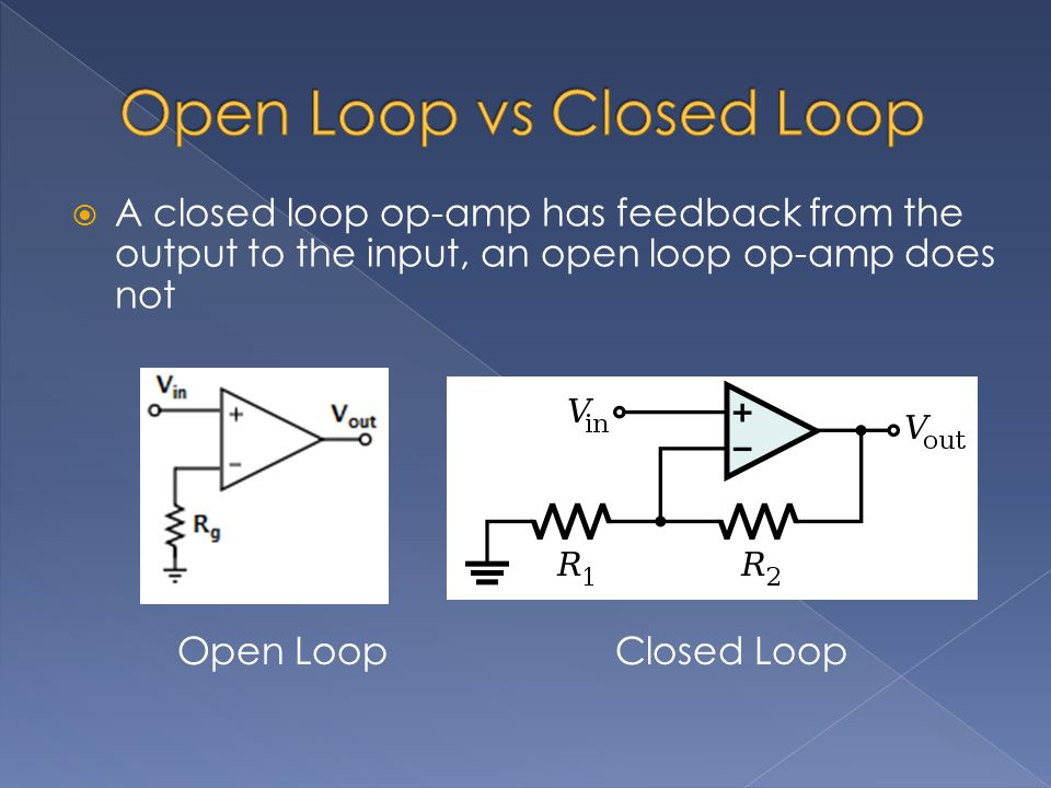  A closed loop op-amp has feedback from the output to the input, an open loop op-amp does not Open LoopClosed Loop