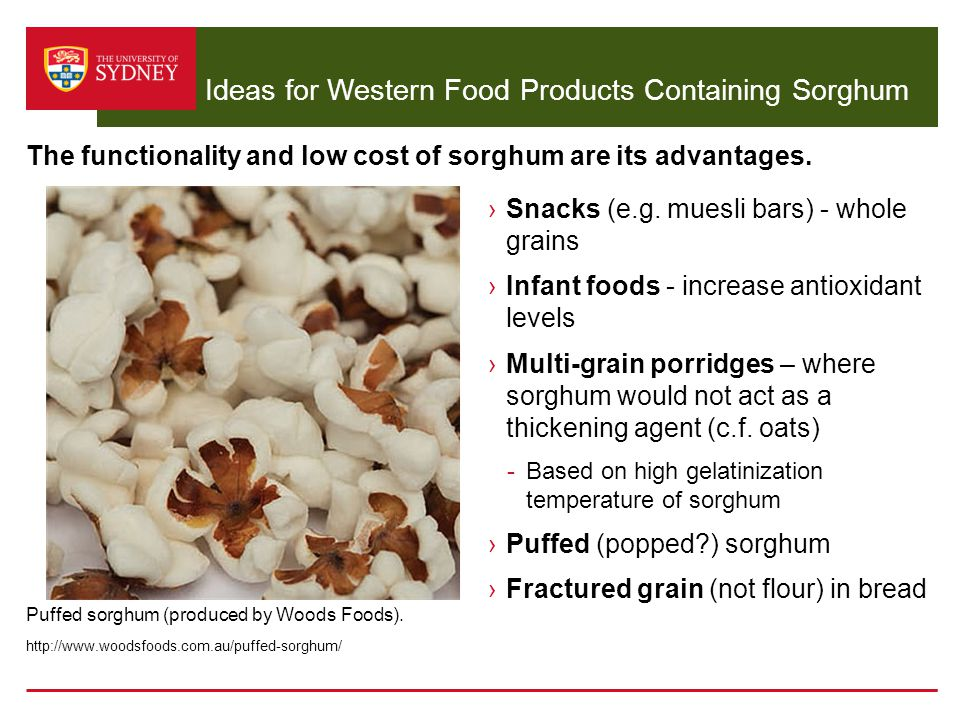 Ideas for Western Food Products Containing Sorghum ›Snacks (e.g. muesli bars) - whole grains ›Infant foods - increase antioxidant levels ›Multi-grain