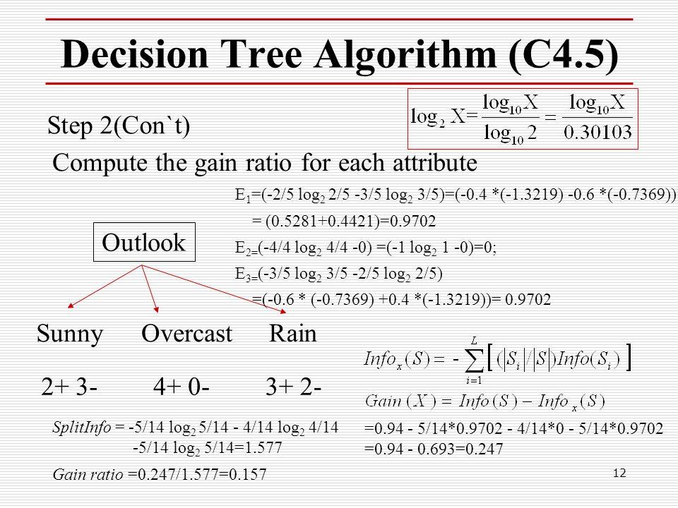 12 Decision Tree Algorithm (C4.5) Step 2(Con`t) Compute the gain ratio for each attribute Outlook SunnyRainOvercast 2+ 3-4+ 0-3+ 2- E 1 =(-2/5 log 2 2