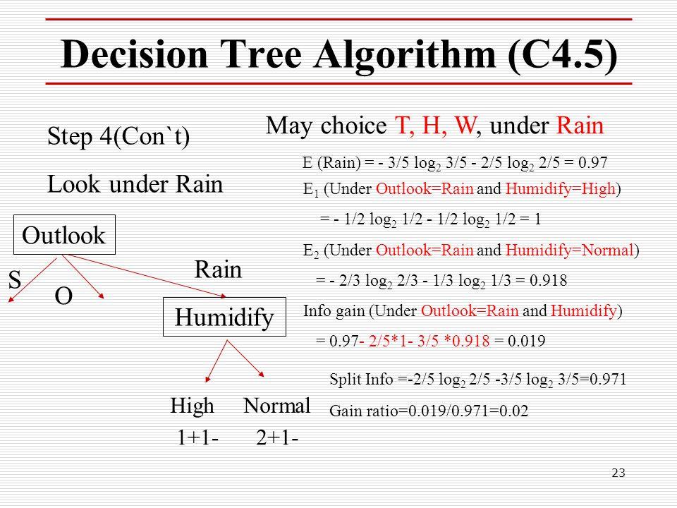 23 Decision Tree Algorithm (C4.5) Step 4(Con`t) Look under Rain May choice T, H, W, under Rain E 1 (Under Outlook=Rain and Humidify=High) = - 1/2 log